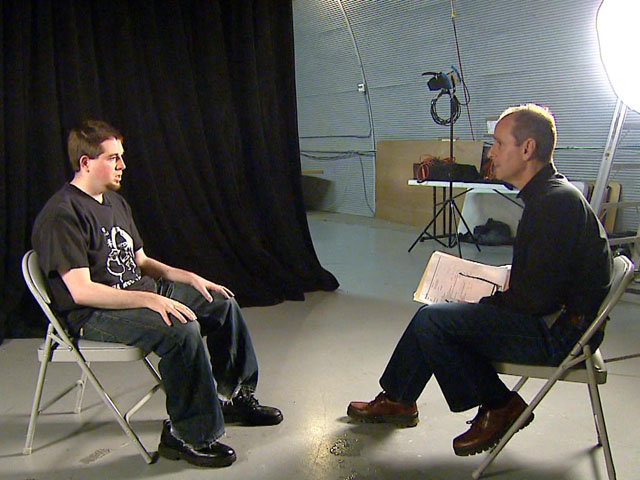 "Craig Brittain, proprietor of a ""revenge porn"" site, with reporter Brian Maass of CBS4-Denver."