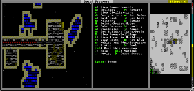 A dwarf clears an underground room.