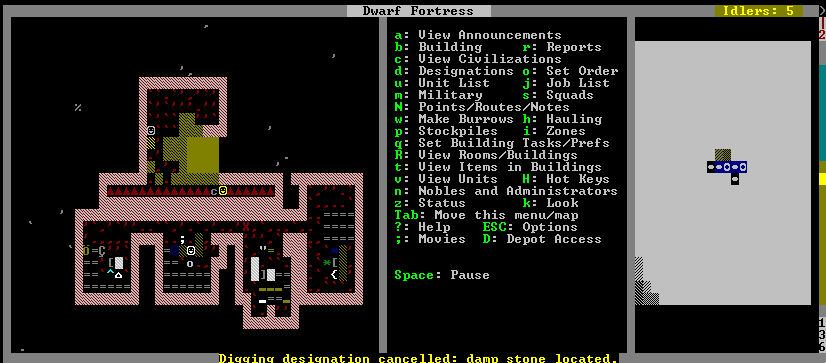 """A rich tapestry of activity: a dwarf clears a room, at the top of the screen, while another dwarf hews a table from stone in the mason's workshop, second alcove from the left. In the long narrow hallway of triangles, a dwarf pets a cat, unless """"c"""" doesn't mean cat, in which case, I'm not too sure what's happening. Per usual."""