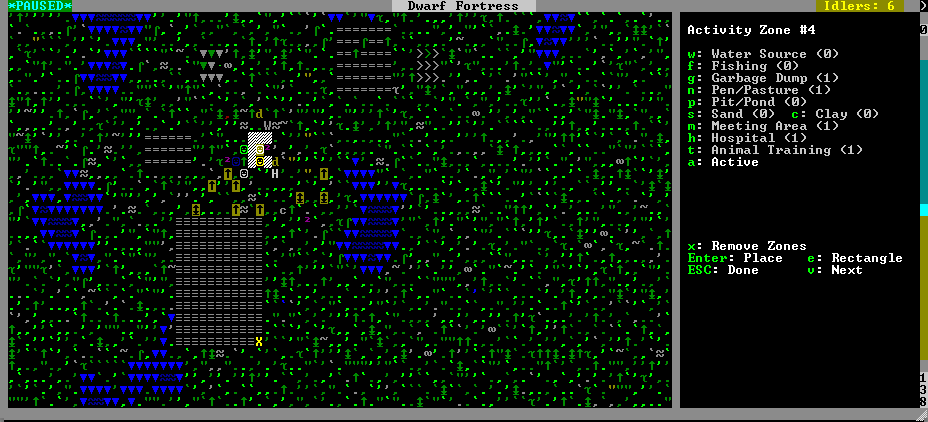 The outdoor area surrounding my fortress suddenly has purpose, aside from playing host to a bunch of dwarves who are doing nothing but standing around shrugging at each other while I try to build an empire.