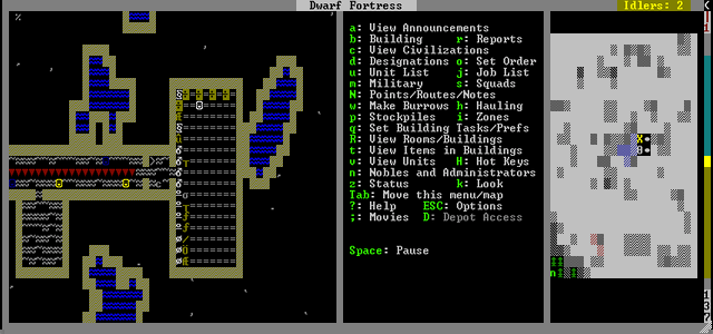"""My fortress, with a hallway and a few rooms. The room on the fair right is for my """"stockpile,"""" where apparently dwarves litter their belongings like children."""