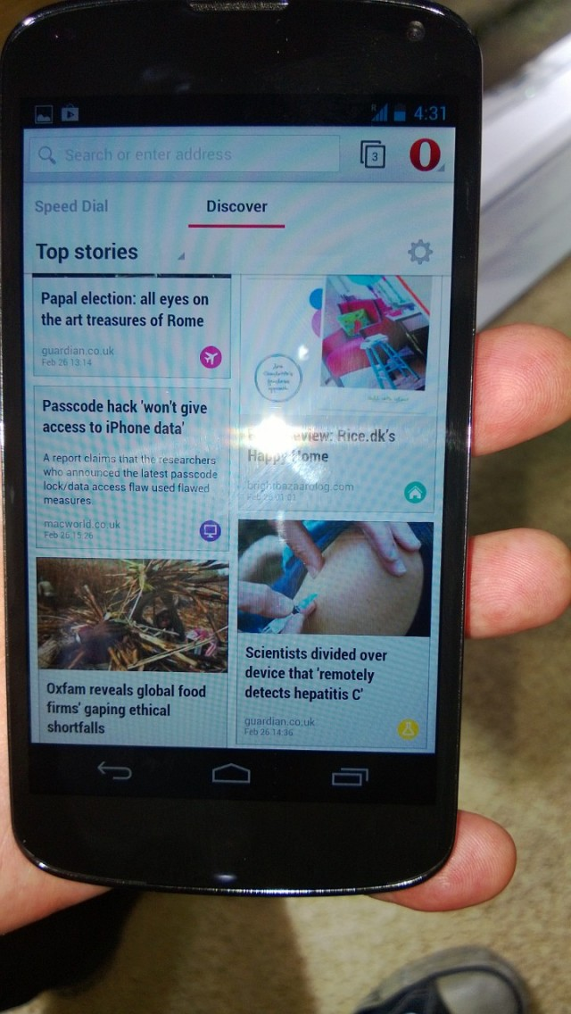 Discover's news feed of today's stories.