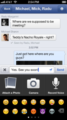 Add voice or video to your Facebook messages.