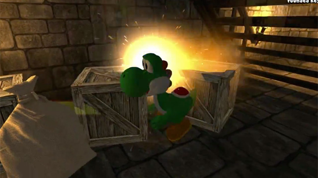 """Yoshi! Yoshi Yoshi!"" [translation: ""Help! I'm in an unlicensed game being forced to destroy crates!""]"