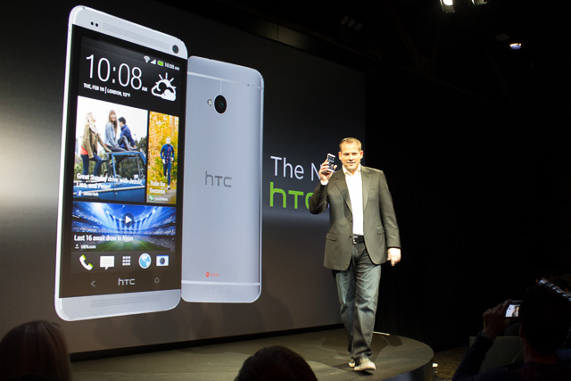 HTC President Jason Mackenzie presents the new HTC One.