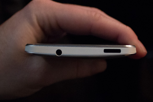 The top of the HTC one, with headphone jack and sleep button.