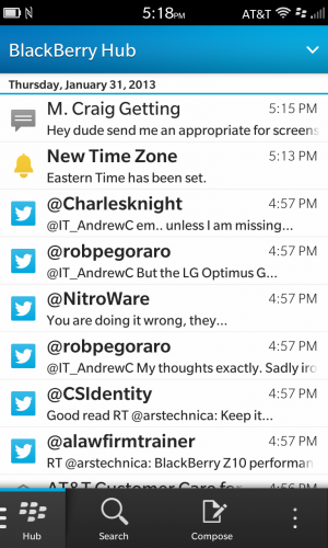 The Hub gathers all of your messages and notifications into one big unified inbox-like construct.