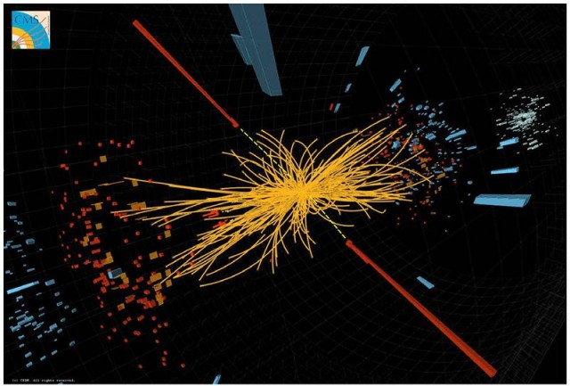 A collision in the LHC's CMS detector.