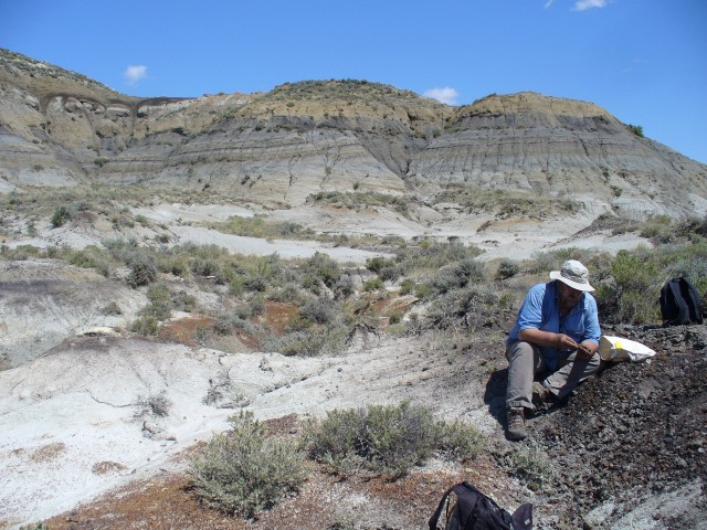 UC-Berkeley geologist Paul Renne at the study site in Montana.