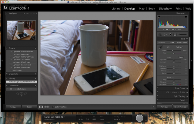 Lightroom in tethering mode. The far right button in the bar along the bottom will snap the camera's shutter, and the most recently taken photo displays front and center.