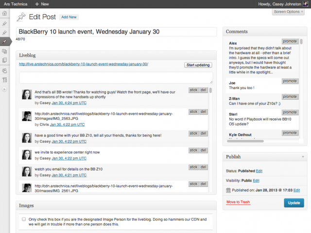 The WordPress interface that Ars staffers use for liveblogging. A running stream of comments made by readers is on the right, and the image interface displays along the bottom.