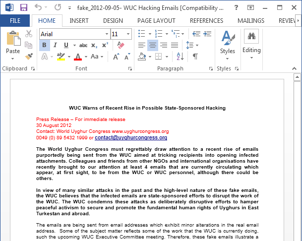 One of the pages displayed by a booby-trapped Word document that exploits a vulnerability Microsoft patched in 2009.