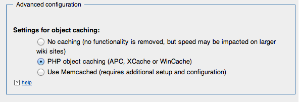Make sure to toggle this option in order to use APC as an object cache for MediaWiki.