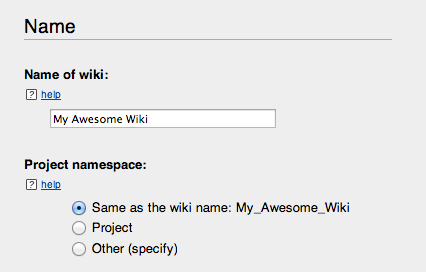 Giving the wiki a name.