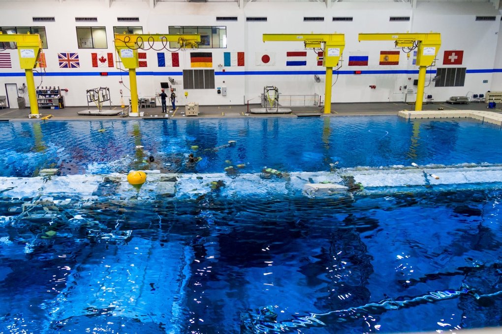 Looking down into NASA's Neutral Buoyancy Lab pool from one of the test director control rooms.