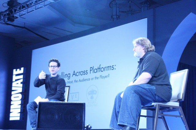 Gabe Newell and J.J. Abrams onstage at the DICE Summit in 2013.