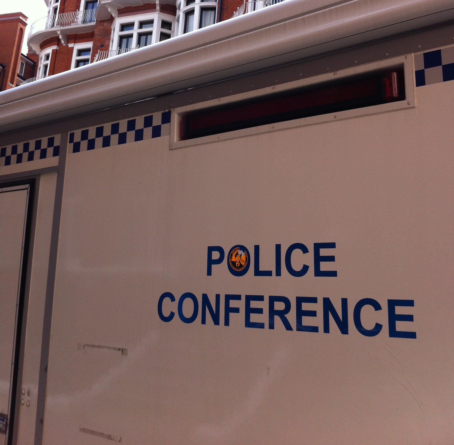 This police van was parked outside the Ecuadorian Embassy in London as of early February 2013.