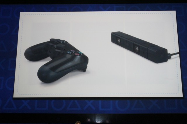 Sony briefly touched on a stereo camera, the PS4 Eye, right, that will work with the new console.