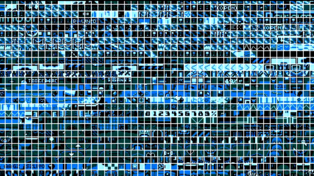 Some of the 8&times;8 pixel tiles used to make the NES-compatible <i>ROM City Rampage</i>.