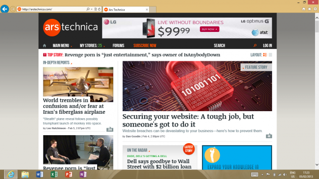 Desktop Internet Explorer on Surface RT cuts off the headline of the second story.