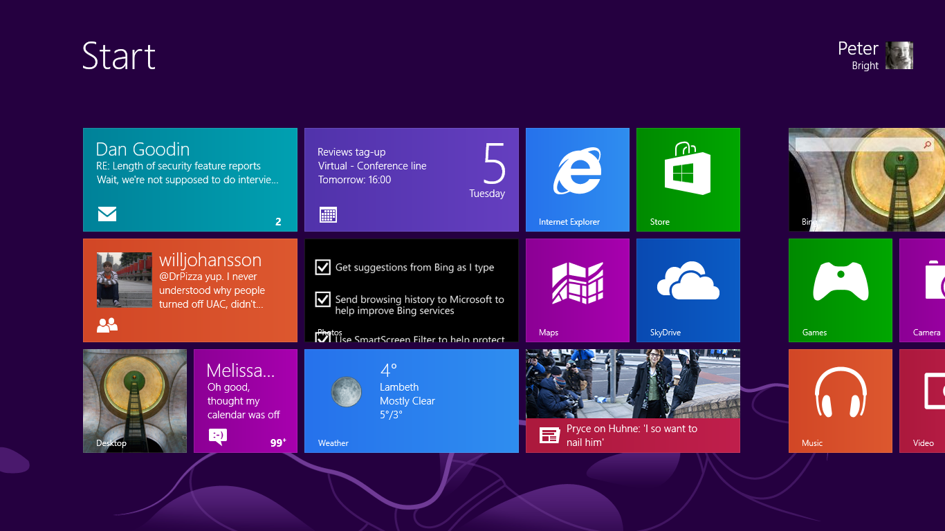 Surface RT's Start screen.