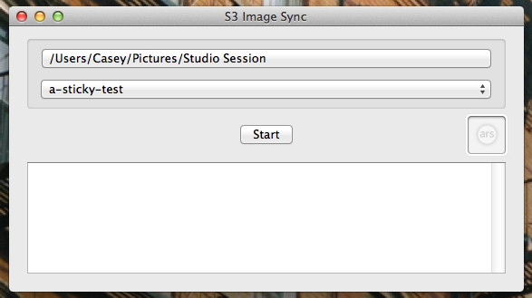 The S3 Image Sync utility, written internally. The two drop-down fields let the user select the source and destination folders, and the square image field holds the watermark that will be imprinted on each photo that passes through.