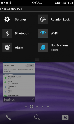 Swiping down from the top of the screen usually exposes the current app's settings and options, if it has any.
