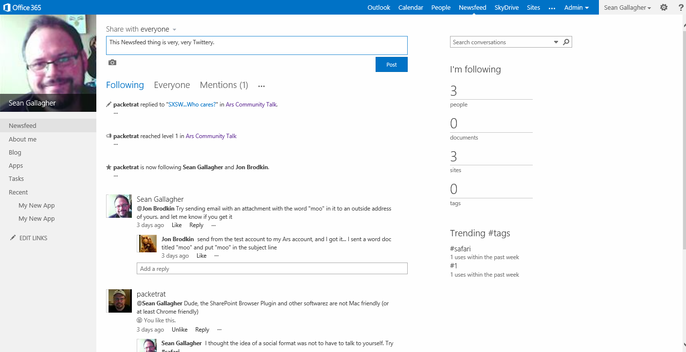 Your SharePoint profile page and Newsfeed: your internal Twitter, Facebook, and Quora all rolled into one.