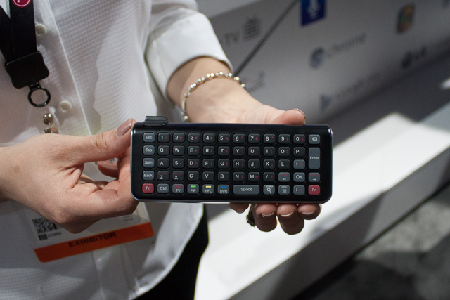 The reverse side of a Google TV remote: a full keyboard.