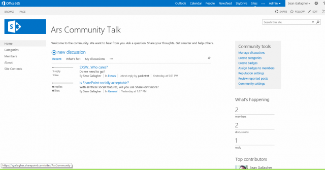 SharePoint 2013's  fresh Community site allows for discussions in a properly regulated space.