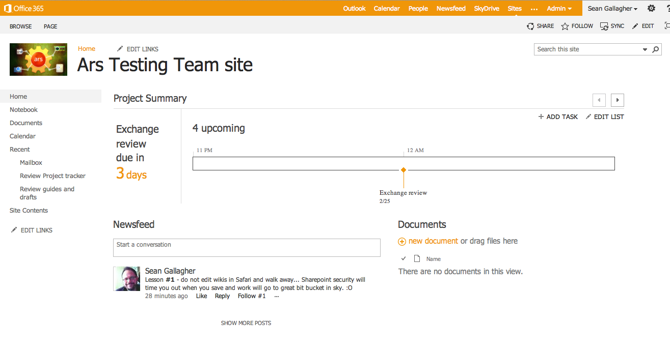 A customized team site with looming deadlines hanging above everything.