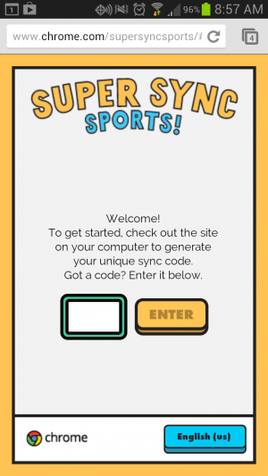 Enter the code to sync your mobile phone with your browser.