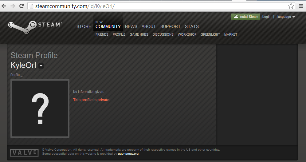 My Steam profile page, which correctly notes that my account is private.
