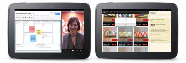 "With ""Side Stage,"" a phone-sized app is placed on the right-hand side next to a tablet app."