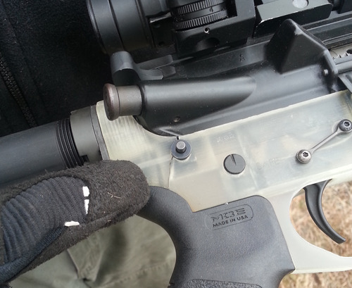 An earlier model of the 3D-printed AR-15 lower resulted in a crack by the rear takedown pin.