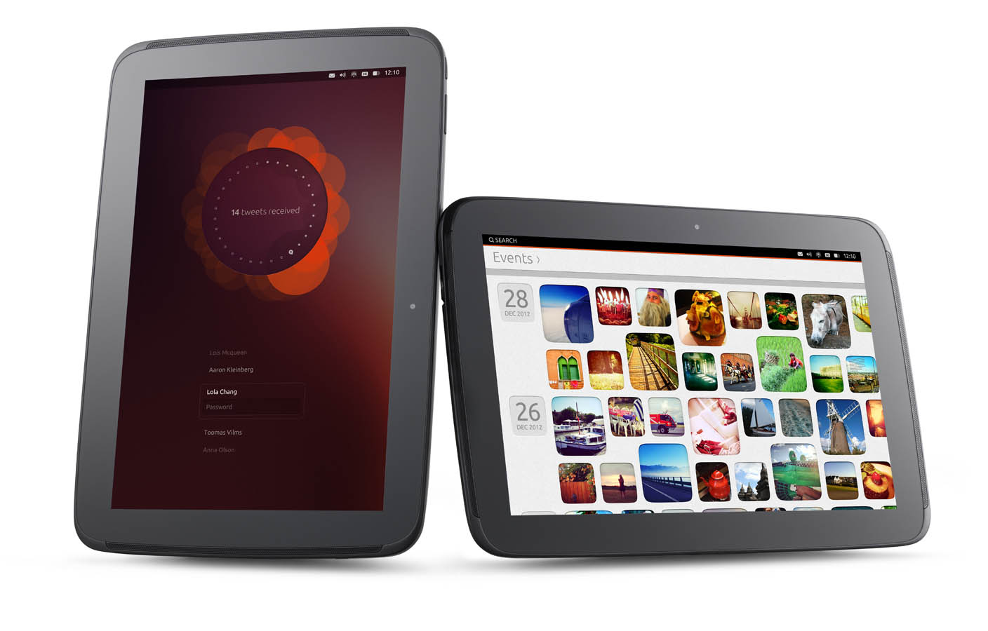 On the left, a login screen in portrait mode. On the right, the Ubuntu events app in landscape.