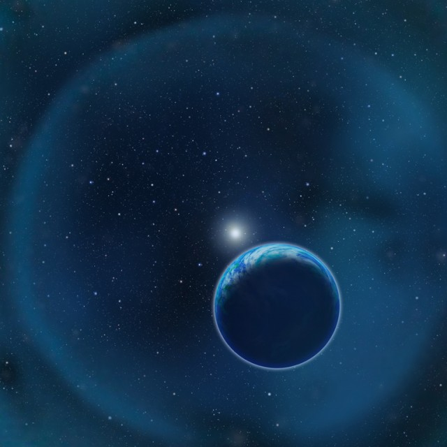 Artist's impression of an Earthlike planet orbiting around a white dwarf: the remains of a star like our Sun that has shed most of its mass.