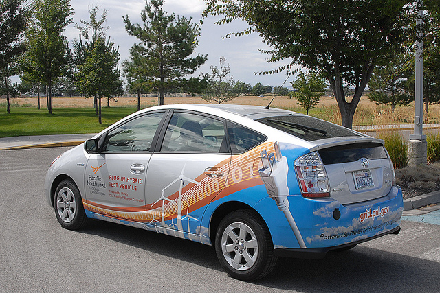 A Prius that's been modified to plug into the grid and use its battery for frequency stabilization.
