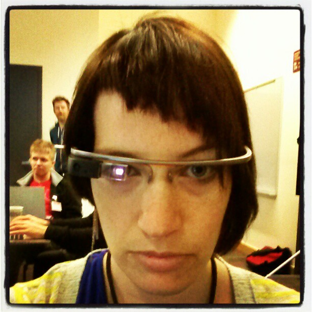 Sharon McKellar, whose husband (Ian McKellar) works on Google Glass, was seen wearing these at an event in Oakland in February 2013.