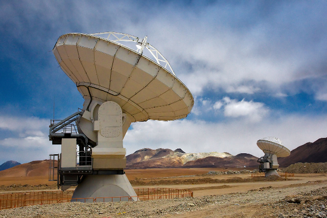 Two of the telescopes comprising ALMA (the Atacama Large Millimeter/submillimeter Array) in Chile.