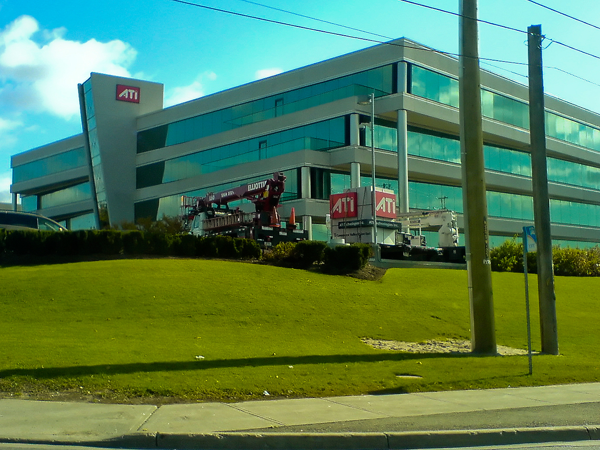 "AMD bought ATI, but the two companies didn't mix well. In this 2009 photo, years after the acquisition, the ""ATI Cube"" in front of the company's building is finally dismantled. The ATI branding would be discontinued entirely a year later."