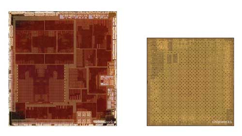 The 32nm Apple A5 (left) compared to the new, smaller A5 (right).