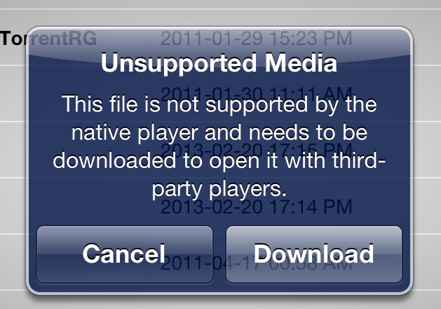 iOS kindly allows you to download the file and open it in another application.
