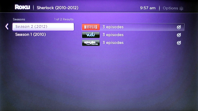 You can search for what you want to watch by title and Roku will show where it's streaming.
