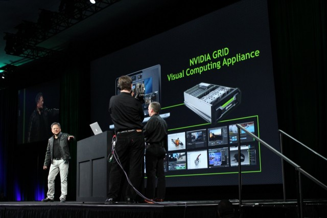 Nvidia CEO Jen-Hsun Huang directs a demo of the Grid Visual Computing Appliance (VCA) during his GTC 2013 keynote.