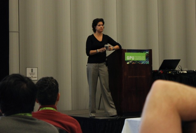 Ouya founder Julie Uhrman shows off the developer version of the Ouya console at Nvidia's GPU Technology Conference.