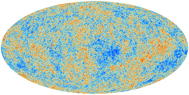 The cosmic microwave background—temperature fluctuations left over from 380,000 thousand years after the Big Bang. This new map is based on data from the Planck mission.
