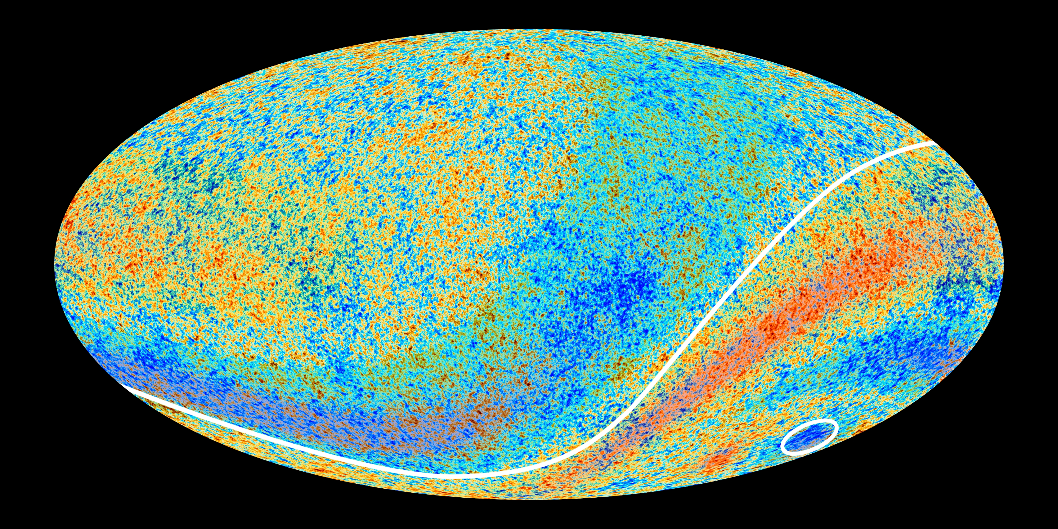 The Planck data, with hot and cold anomalies highlighted.