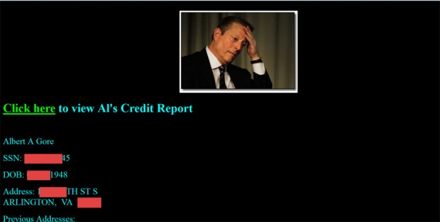 Celebrity credit reports posted by ID thieves taken from free website