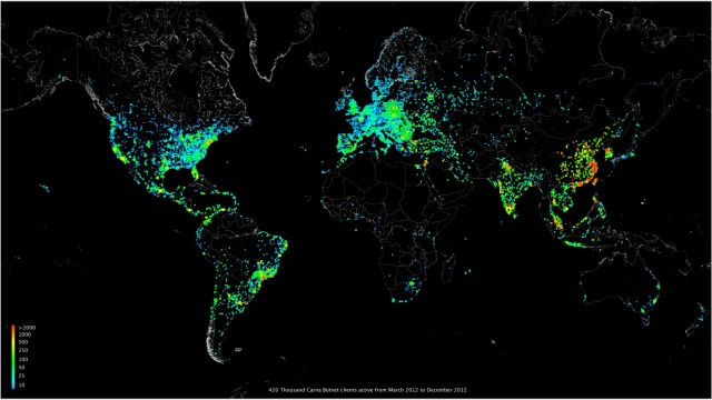 Carna Botnet's 420,000-client distribution, March to December 2012.